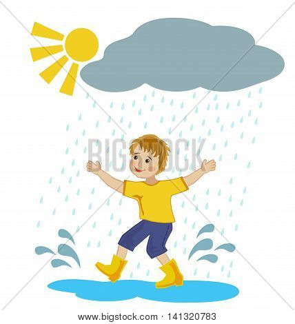 Joyful boy runs through the puddles under the warm summer rain