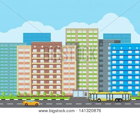 Modern City View. Cityscape with office and residental buildings, trees, road with bus and car, blue background with clouds. vector illustration in flat style