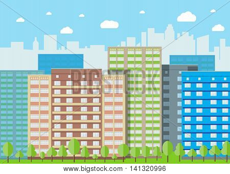Modern City View. Cityscape with office and residental buildings, trees, blue background with clouds. vector illustration in flat style