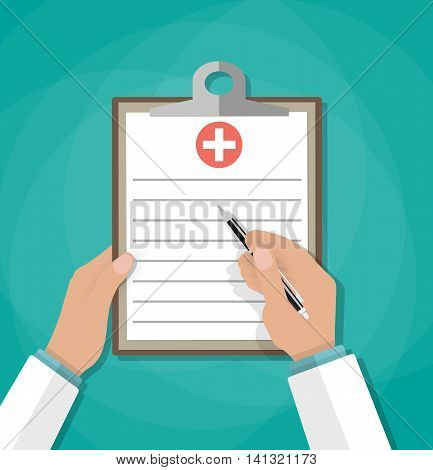 Clipboard in doctors hand. Make notes in clipboard. medical report. analysis or prescription concept. vector illustration in flat style