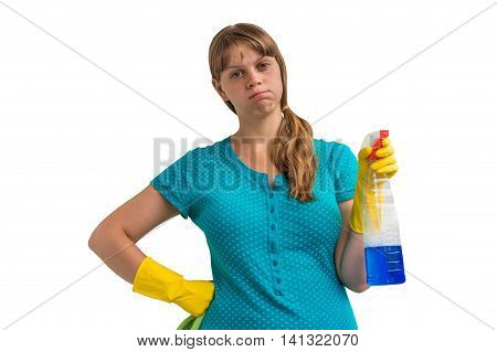 Tired Housewife Woman With A Rag And Detergent