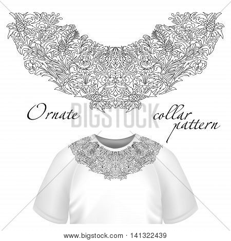 Neck print vector floral design. Fashion lace collar. Vector illustration. Outline embroidery. One color.