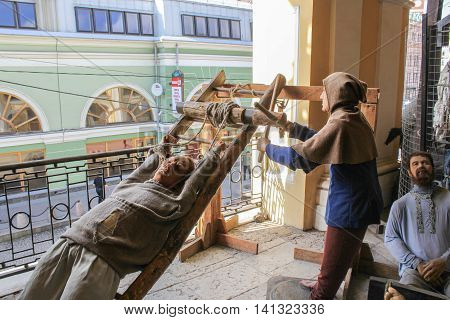 St. Petersburg, Russia - 9 April, The line of sailors along the street in the cordon, 9 April 2016. Wax Museum Gallery large Gostiny Dvor.
