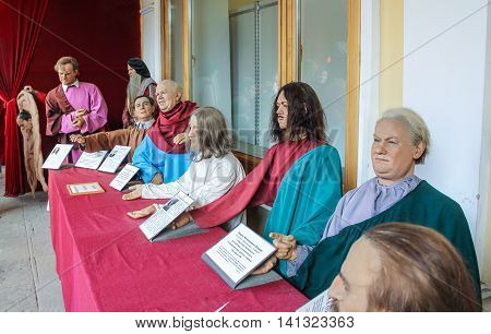 St. Petersburg, Russia - 9 April, The figures of Russian and Soviet leaders, 9 April 2016. Wax Museum Gallery large Gostiny Dvor.