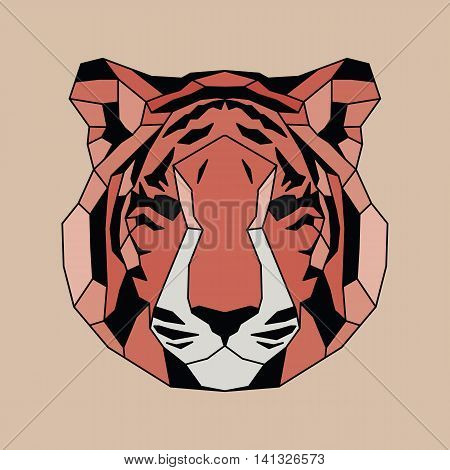 Red lined low poly tiger. Vice geometric art