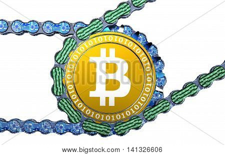 Computer Blockchain With Bitcoin Isolated On White