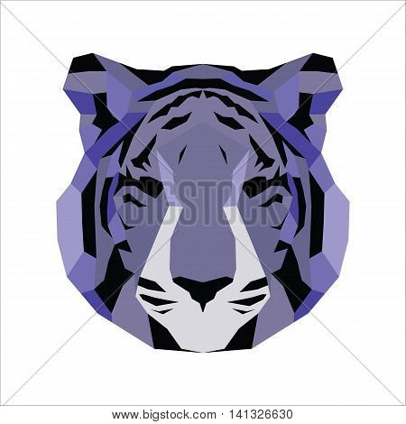 Violet low poly tiger. Vice geometric art