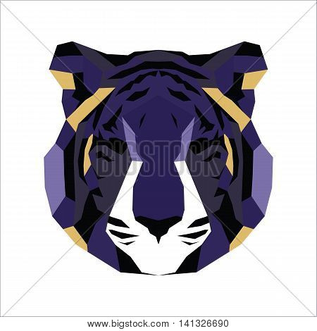 Violet and yellow low poly tiger. Vice geometric art
