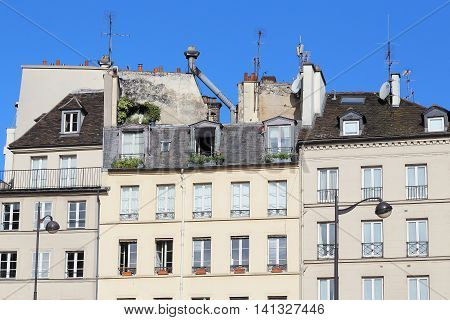 This is typical roof of Parisian houses with chimneys mansards windows banisters and plant.