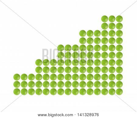 Plenty of green pills shaped in columnar diagram form on white background