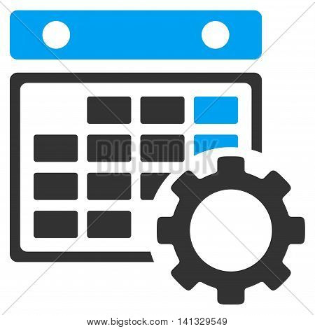 Syllabus Preferences vector icon. Style is bicolor flat symbol, blue and gray colors, rounded angles, white background.