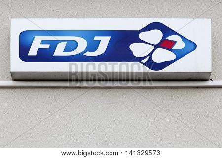 Nantes, France - June 25, 2016: Francaise des Jeux also called FDJ is the operator of national lottery games in France and the title sponsor of the FDJ cycling team