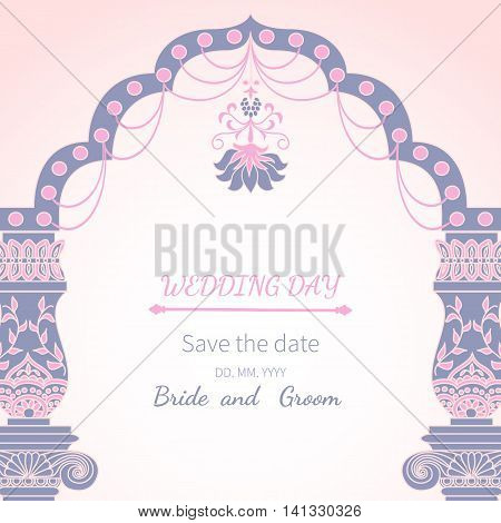 Postcard invitation to wedding.Frame vintage archway ornate, royal architecture