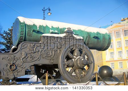 Tsar Cannon (King Cannon) in Moscow Kremlin in winter. UNESCO World Heritage Site.
