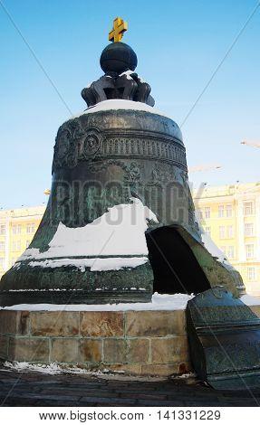Tsar-Bell in winter. Moscow Kremlin. UNESCO World Heritage Site.