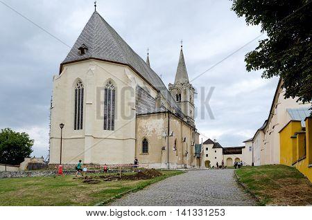 SPISSKA KAPITULA SLOVAKIA - AUGUST 18 2015: St. Martin's Cathedral in Spisska Kapitula Slovakia.