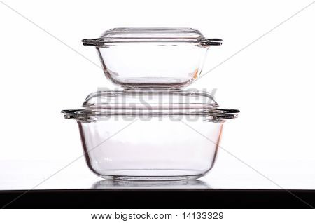 Two Glass Bowls In White Background