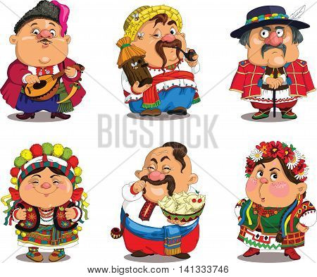 Cartoon Ukrainians . Funny travesty cartoon. Characters. Ukrainians set. Isolated objects.
