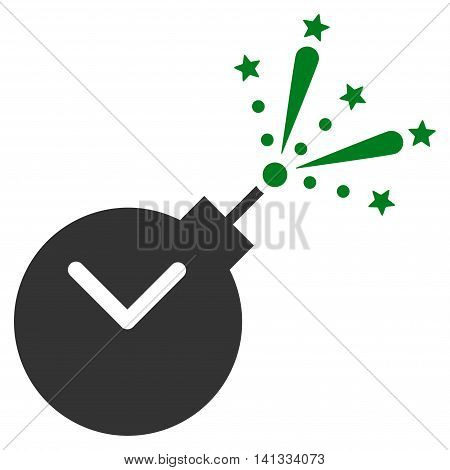 Time Fireworks Charge vector icon. Style is bicolor flat symbol, green and gray colors, rounded angles, white background.