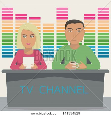 A man and a woman are anchors on the telecast in the studio. TV show with 2 anchor mans on tv channel. Vector illustration.