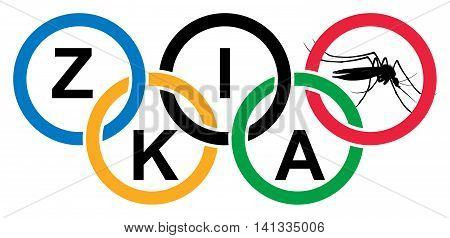 Rio de Janeiro, Brazil - Aug 5, 2016. Coloured olympic rings with ZIKA title and mosquito. Summer Olympic Games in Rio de Janeiro Brazil from 5 to 21 August 2016.