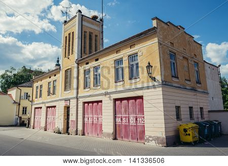 Mikulov Czech Republic - May 17 2015. Building of fire station in small Mikulov city in South Moravian Region