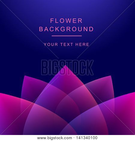Vector abstract flower. Lotos on the dark background
