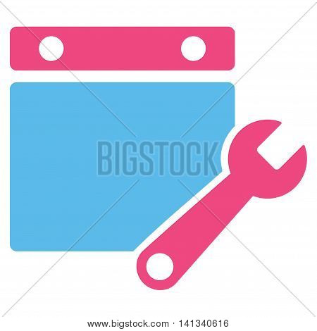 Syllabus Tuning vector icon. Style is bicolor flat symbol, pink and blue colors, rounded angles, white background.