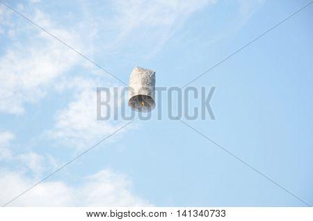 Floating lantern Yee Peng on blue sky