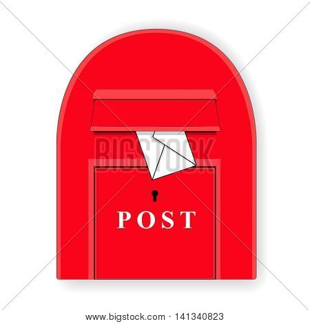 A red post box with a letter. Mailbox. Letterbox Isolated illustration. Vector illustration