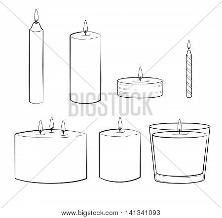 Set of candles sticks: pillar candle, container or jar candle, taper candle, tealight candle, multi wick candle, party candle. Isolated illustration. Vector.