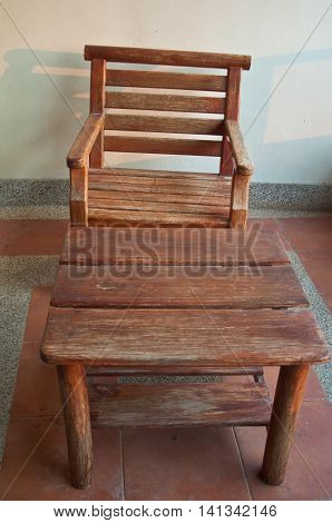 Set of wood table and chair in riving room