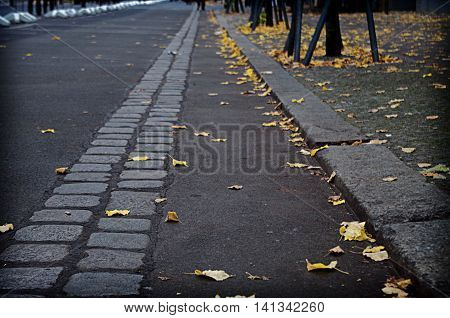 Stones marking the former path of the Berlin Wall