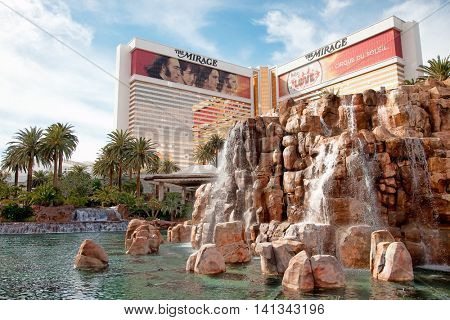 The Mirage, Las Vegas - January 13, 2016: The Mirage opened in 1989. It has 3,044 rooms with a total of 100,000 sq ft in gaming space.