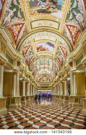 The Venetian, Las Vegas - January 13, 2016: The Venetian opened in 1999. It has 4049 rooms with a total of 120,000 sq ft in gaming space. The Grand Canal Shoppes are its main attraction.
