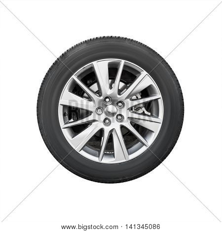 Modern Suv Car Wheel, Front View Isolated