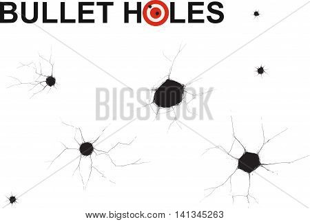 Several different bullet holes Doodle on the white backgrounds