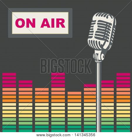 Metal microphone for stage. Recording, live, the equalizer. Vector illustration.
