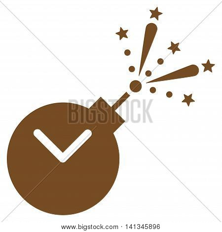 Time Fireworks Charge vector icon. Style is flat symbol, brown color, rounded angles, white background.