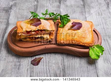 Italian hot crispy toasted panini sandwiches closed on cutting board and cut in half sandwich panini with ham tomato cheese lettuce parsley on light white wooden background