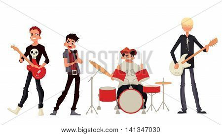 Rock band cartoon style illustration isolated on white background. Musicians - singer guitarist drummer solo guitarist bassist. Isolated rock band musicians