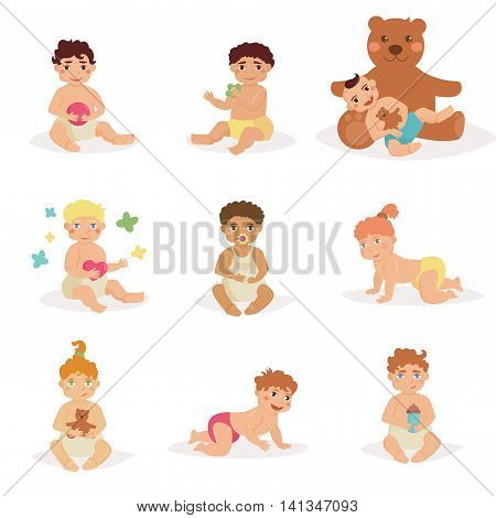 Children sit with toys in his hands. Babies in diapers. Bear, rattle, pacifier, ball, butterfly. Vector illustration in flat style. Image for booklets, brochures, flyers, websites Cartoon characters