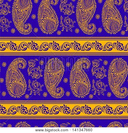 Paisley - Indian folk weaving seamless ethnic pattern. Floral oriental ethnic background. Arabic and indian tribal ornament. Ornamental motives of the paintings of oriental fabric patterns.