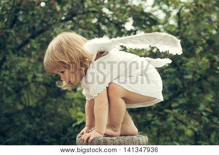 Little Boy Dressed As Angel