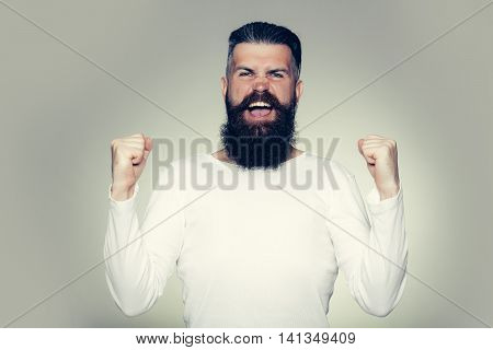 Bearded Man With Happy Yes Gesture