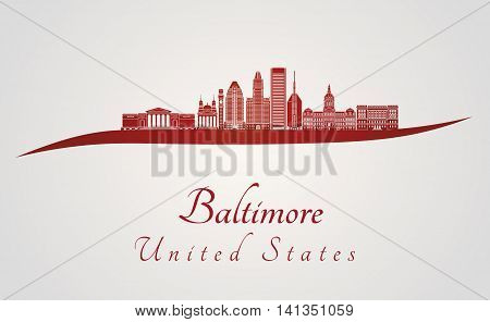 Baltimore skyline in red and gray background in editable vector file