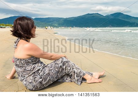 Woman Looking At The Sea In The China Beach Danang