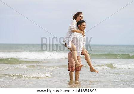 Young Couple Posing In The China Beach In Danang Vietnam