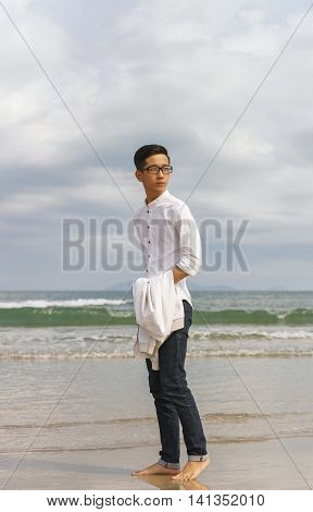 Young Fellow In China Beach In Danang In Vietnam