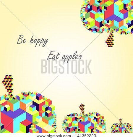 Bright cubic apple fruit  unique modern colorful vector postcard